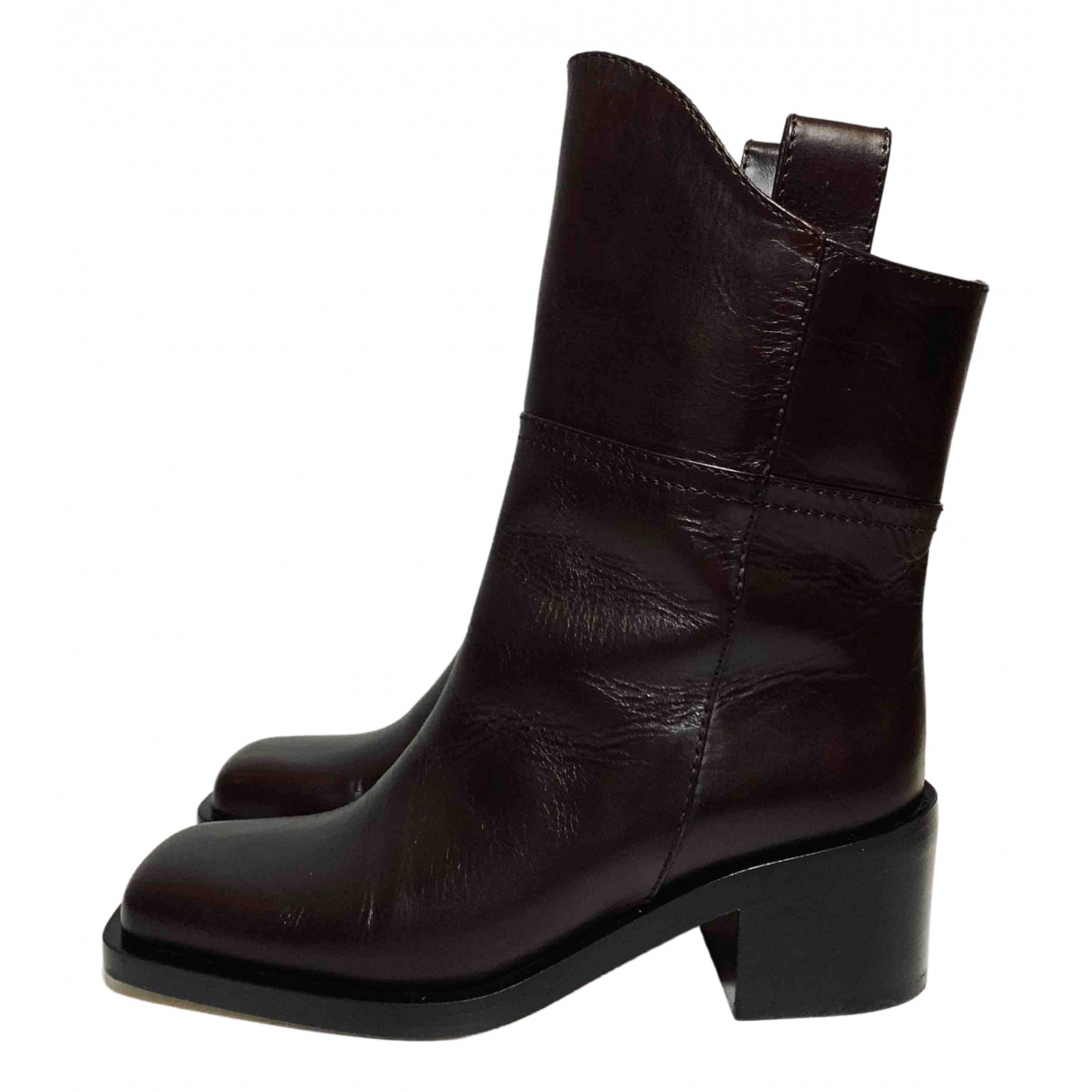 Chanel \N Brown Leather Boots for Women 36.5 EU