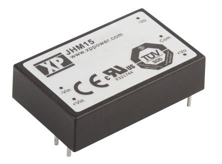 XP Power JHM15 15W Isolated DC-DC Converter Through Hole, Voltage in 9 → 18 V dc, Voltage out ±15V dc Medical