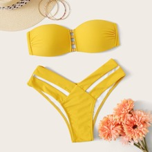 Bandeau Mit Ausgeschnittenem High Cut Bikini Set
