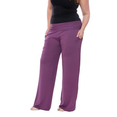 White Mark Womens High Rise Wide Leg Palazzo Pant-Plus, 1x , Purple