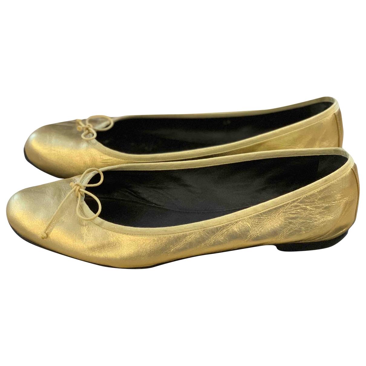 Saint Laurent \N Metallic Leather Ballet flats for Women 41 EU