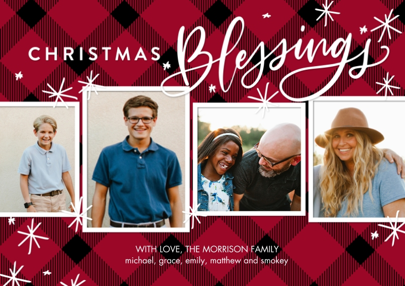 Christmas Photo Cards Flat Glossy Photo Paper Cards with Envelopes, 5x7, Card & Stationery -Christmas Blessings by Tumbalina