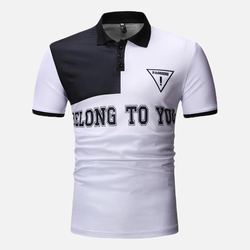 Men Color Block Letter Printed Muscle Fit Golf Shirt