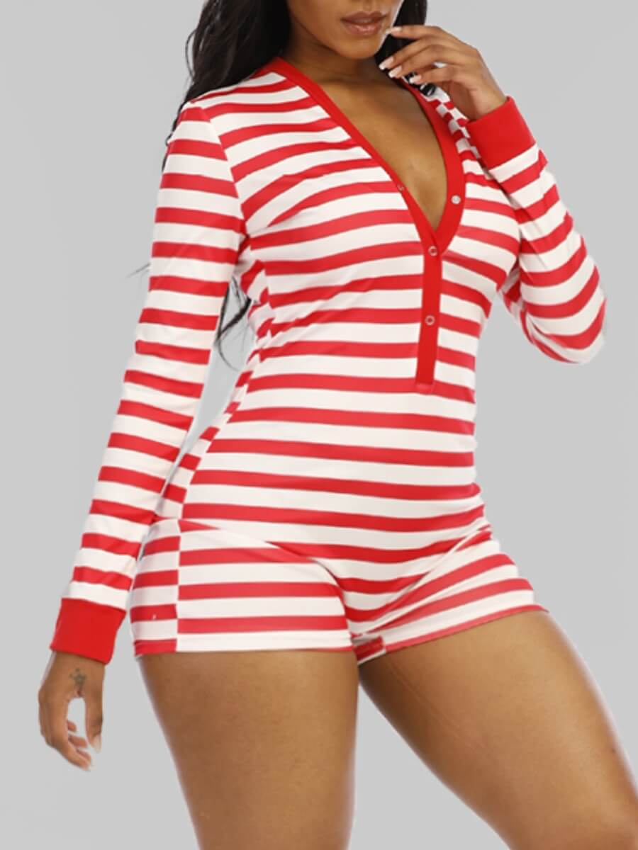 LW Lovely Sexy V Neck Striped Red Plus Size One-piece Romper
