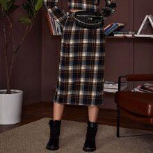 Falda recta de cuadros de cintura alta
