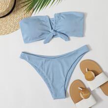 Bañador bikini bandeau con nudo de cuello V de canale