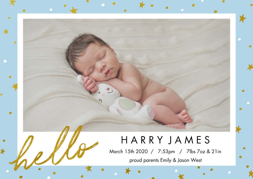 Baby Boy Announcements 5x7 Cards, Premium Cardstock 120lb with Elegant Corners, Card & Stationery -Starry Night Baby