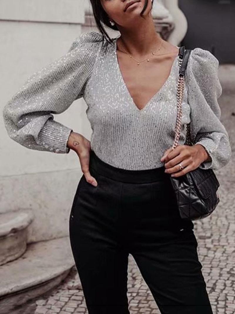 Ericdress Plain V-Neck Long Sleeve Women's Standard Blouse
