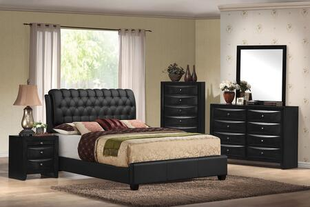 Ireland II Collection 14347EKDMCN 5 PC Bedroom Set with King Size Bed  Dresser  Mirror  Chest and Nightstand in Black