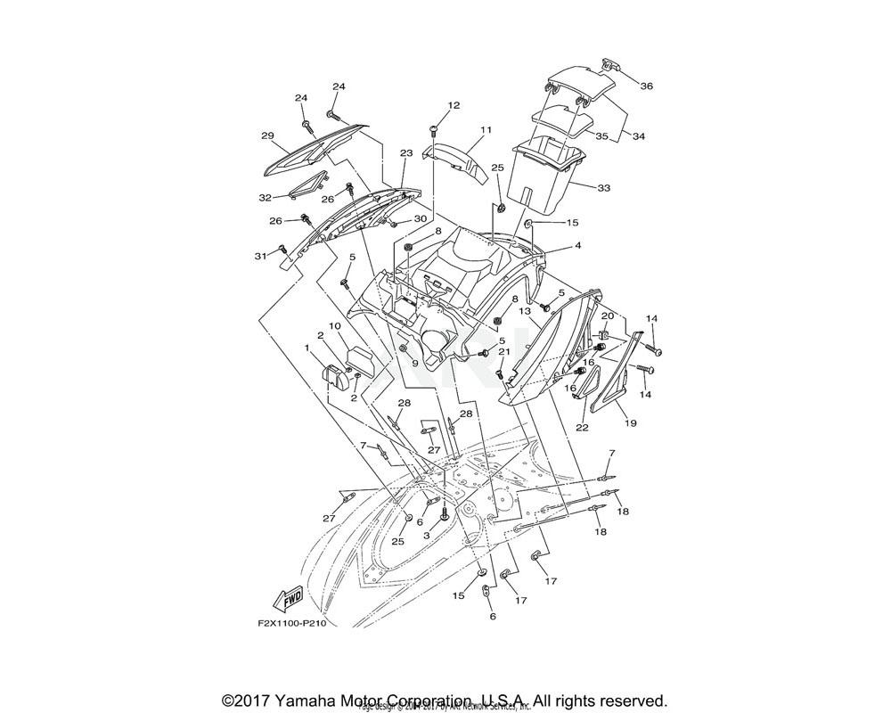 Yamaha OEM F2X-U377G-00-00 ORNAMENT, SIDE RH