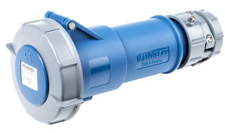 MENNEKES , PowerTOP IP67 Blue Cable Mount 3P Industrial Power Socket, Rated At 32.0A, 230.0 V