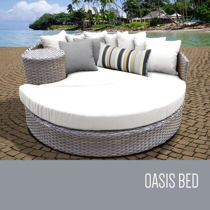 Florence Collection FLORENCE-SUN-BED-WHITE 1 Sun Bed with 4 Large pillows   3 Regular pillows - Grey and Sail White
