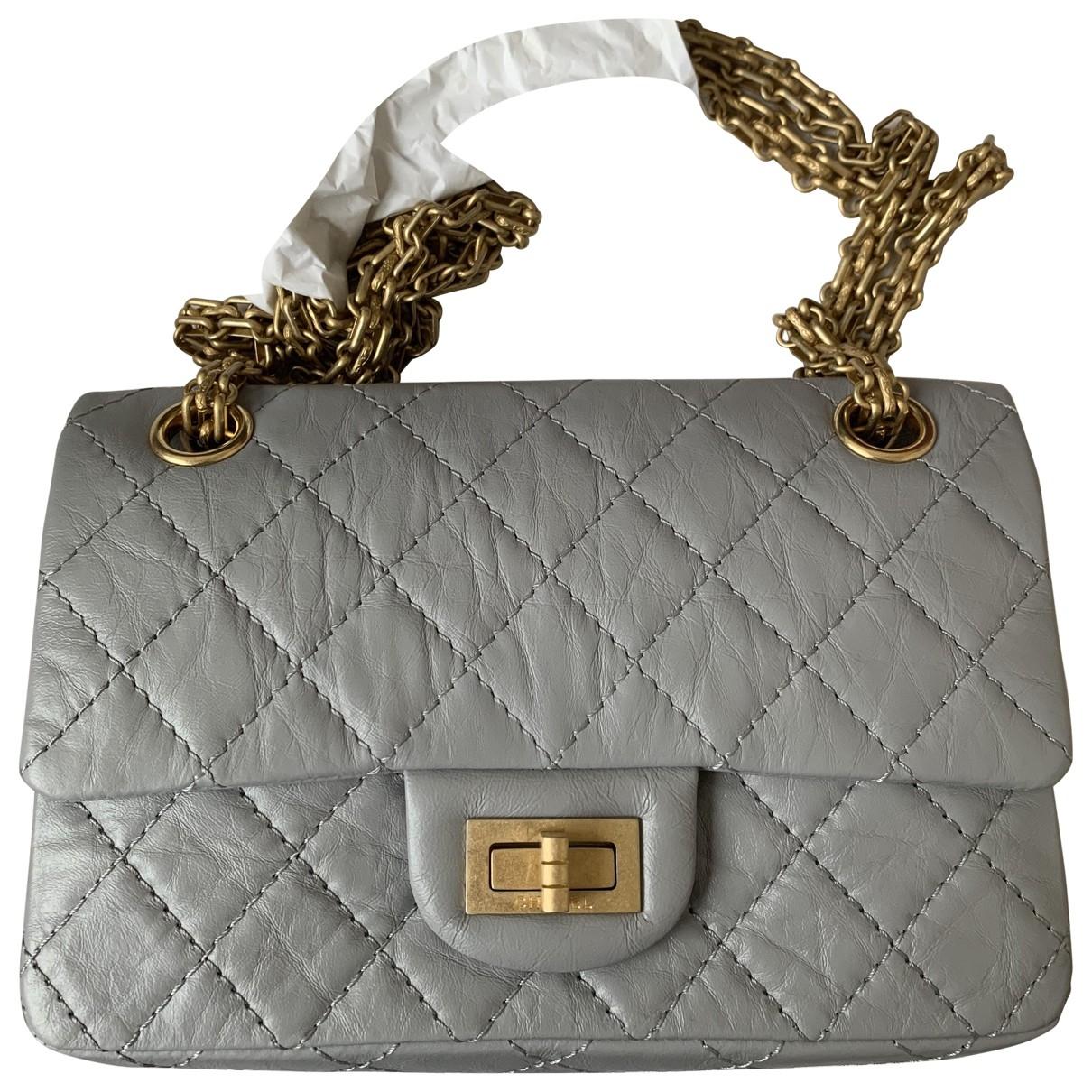 Chanel 2.55 Handtasche in  Grau Leder
