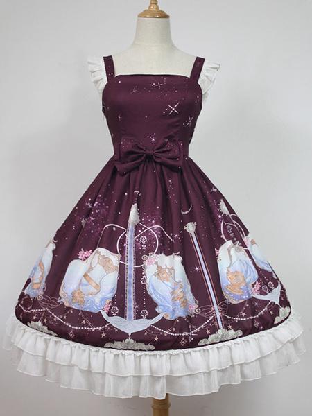 Milanoo Sweet Lolita Dress Starry Sky JSK Neverland Bow Ruffles Pleated Dark Red Lolita Jumper Skirt Original Design