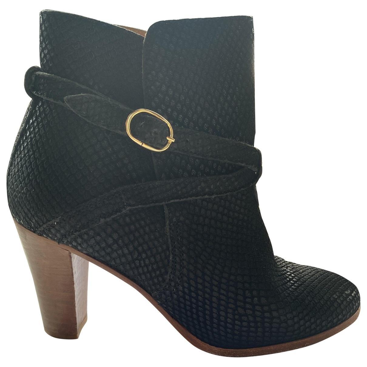 Sezane - Boots   pour femme en cuir - noir