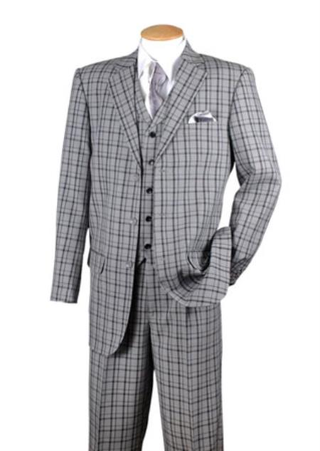 Mens Black 3 Piece Plaid Window Pane 3 button Vested Suits pants