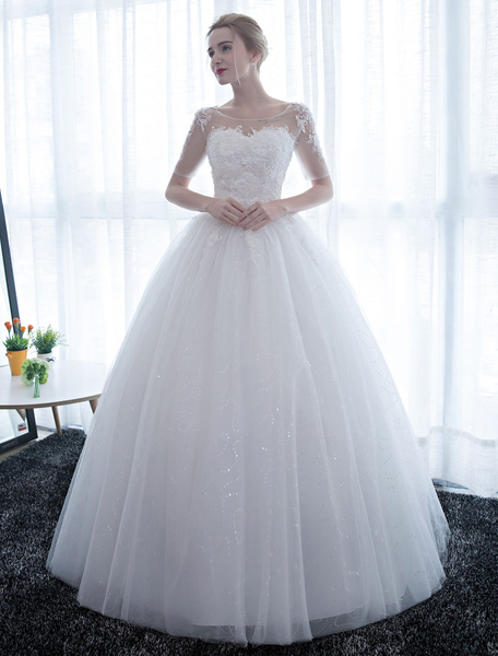 Milanoo Ivory Wedding Dress Princess Ball Gown Bridal Dress Half Sleeve Lace Applique Pearls Beaded Sweetheart Floor Length Bridal Gown