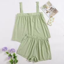 Plus Solid Cami Top With Shorts Pajama Set