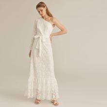 PREMIUM One Shoulder Flounce Hem Self Belted Lace Overlay Dress