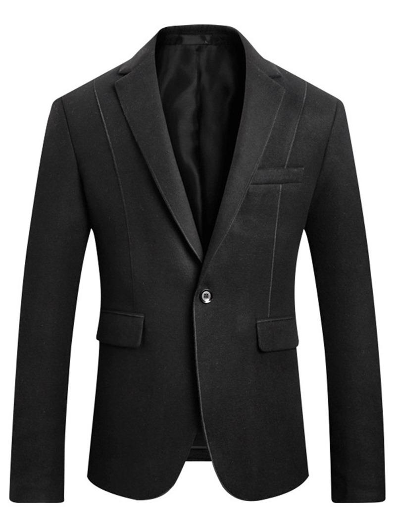 Ericdress Plain Slim Notched Lapel One-Button Mens Casual Blazer