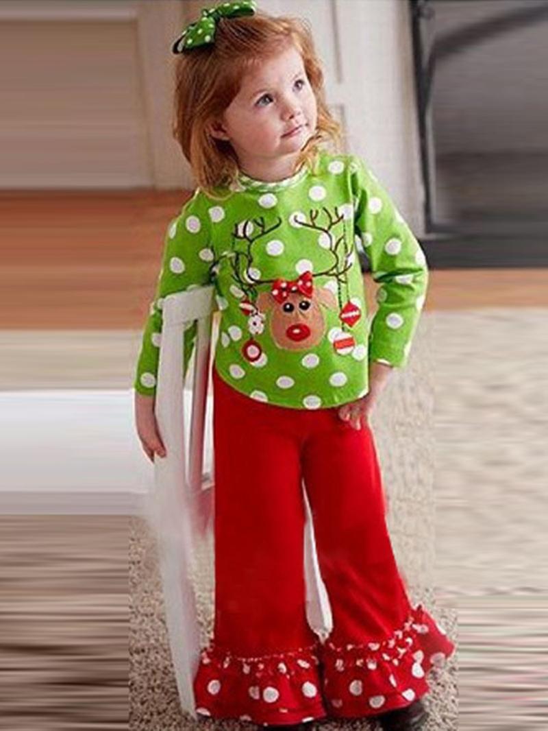 Ericdress Reindeer Christmas Polka T-Shirt Pants Girls Outfit