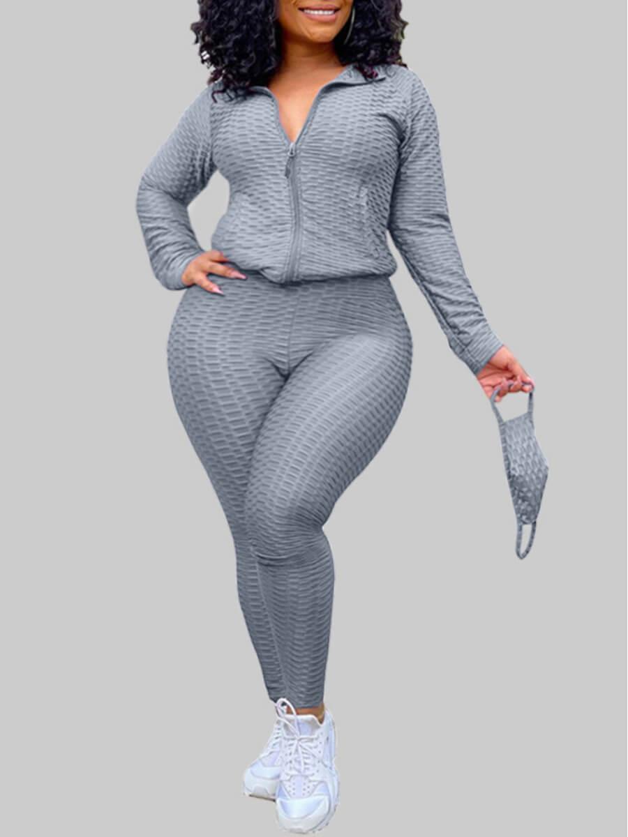 LW Lovely Casual Turndown Collar Zipper Design Grey Plus Size Two-piece Pants Set