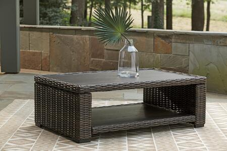 Grasson Lane Collection P783-701 Outdoor Rectangular Cocktail Table with Bottom Shelf  All-Weather Resin Wicker  and Rust-Proof Aluminum Frame in