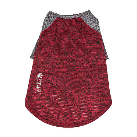 Pet Life  Active 'Hybreed' 4-Way Stretch Two-Toned Performance Dog T-Shirt, Large , Red