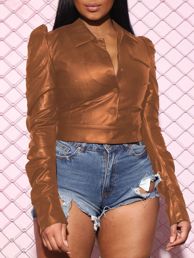 Ericdress PU Short Single-Breasted Fall PU Jacket