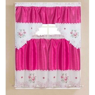 Vivid Embroidered 3-Piece Kitchen Valance and Tier Curtain Set - (1x) 60 x 36-inch / (2x) 30 x 36-inch (Rose)