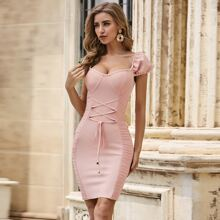 Sesidy Puff Sleeve Lace Up Knot Ruched Bandage Dress