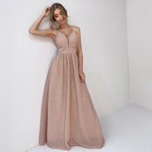 Metallisches Cami Kleid mit Neckholder und Reissverschluss hinten