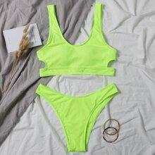 Neon Lime Rib High Cut Bikini Swimsuit