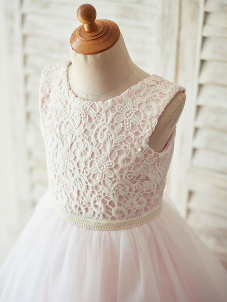 Milanoo Flower Girl Dresses Soft Pink Jewel Neck Sleeveless Pearls Kids Party Dresses