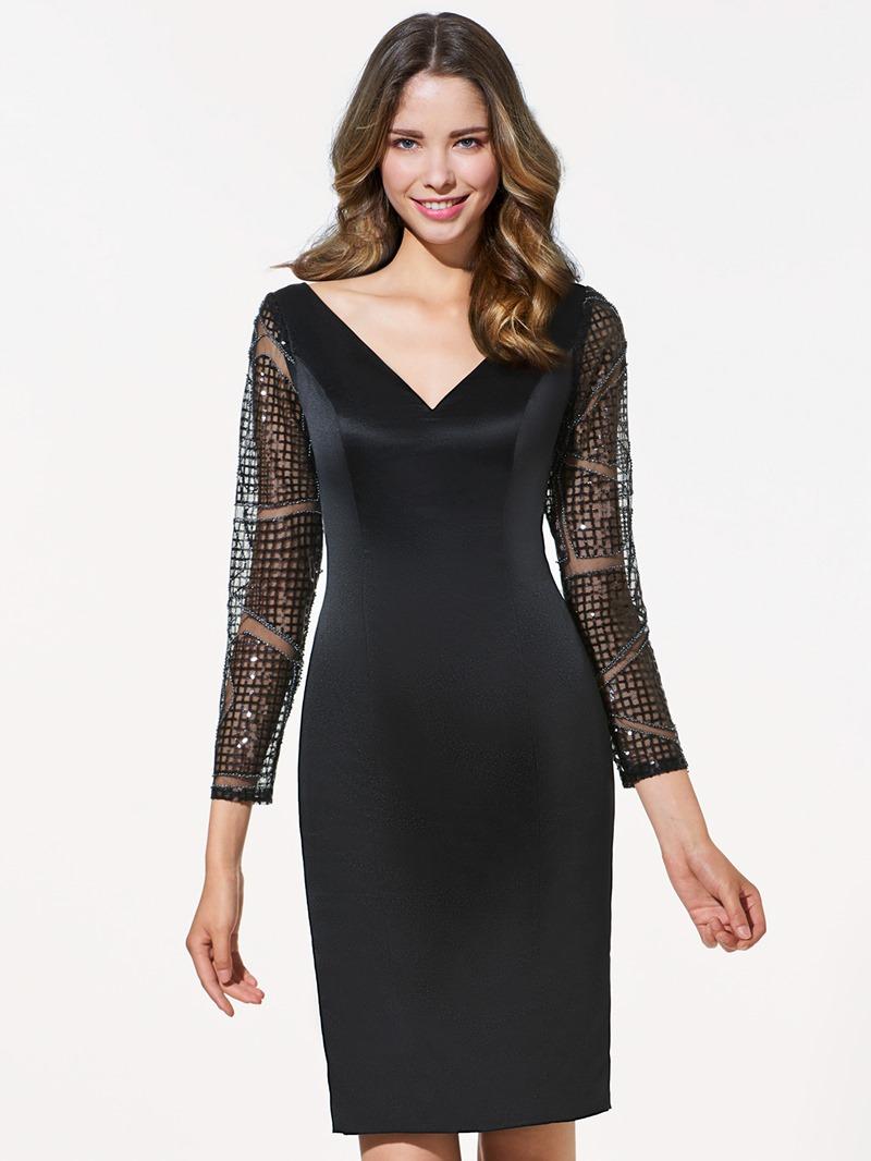 Ericdress Sheath Long Sleeves V-Neck Lace Mini Cocktail Dress