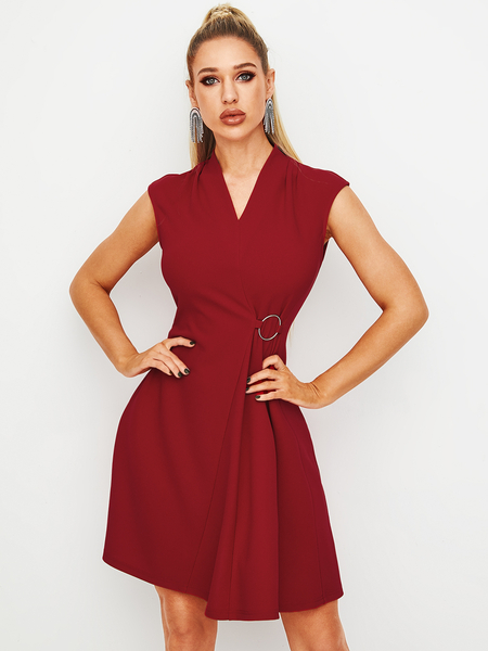 Yoins Red Wrap Design V-neck Sleeveless Dress