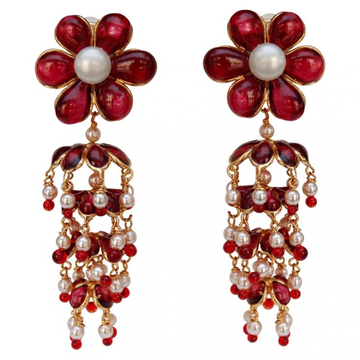 - Boucles doreilles Motifs Floraux pour femme en verre - rouge