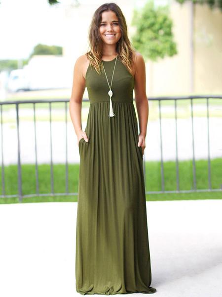 Milanoo Black Maxi Dress Long Warp Casual Summer Dress 2020 Pockets Sleeveless for Women