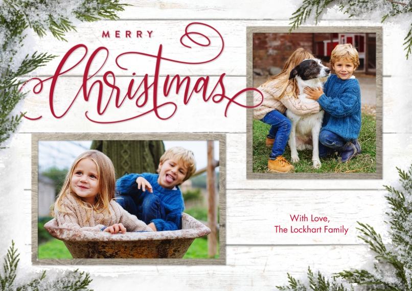 Christmas Photo Cards 5x7 Cards, Premium Cardstock 120lb with Elegant Corners, Card & Stationery -Christmas Evergreen Snapshots by Tumbalina
