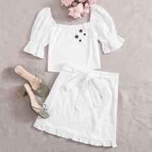 Flounce Sleeve Crop Top & Belted Schiffy Skirt Set