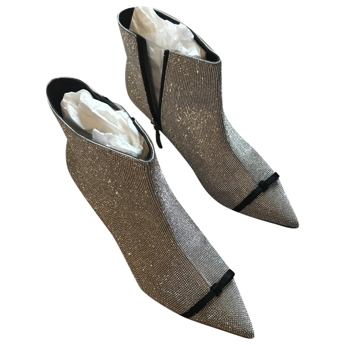 Marco De Vincenzo - Boots   pour femme en cuir - metallise