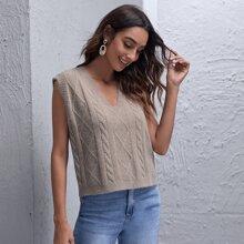 Shoulder Pad Cable Knit Sweater Vest