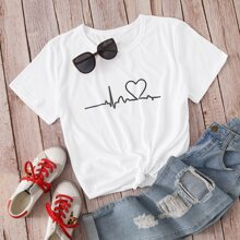 T-Shirt mit Grafik & Herzen Muster