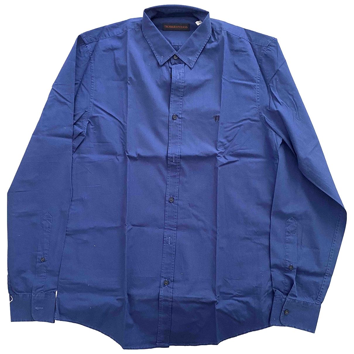 Trussardi Jean - Chemises   pour homme en coton - bleu