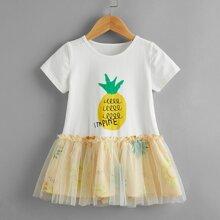 Toddler Girls Contrast Mesh Pineapple Print Ruffle Hem Smock Dress