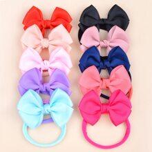 10pcs Baby Plain Bow Decor Headband