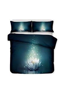 White Lotus On The Dark Green Lake Printed 3-Piece Bedding Sets/Duvet Covers