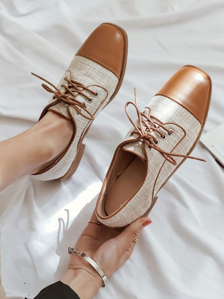 Milanoo Brown Oxfords Women Square Toe Lace Up Casual Shoes