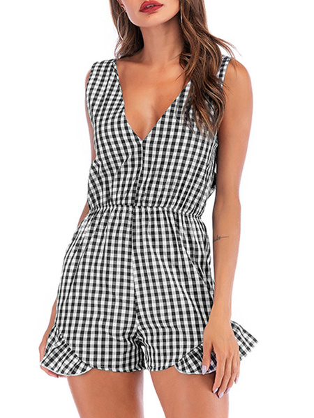 Milanoo Blue Plaid V Neck Polyester Straight Summer One Piece Outfit