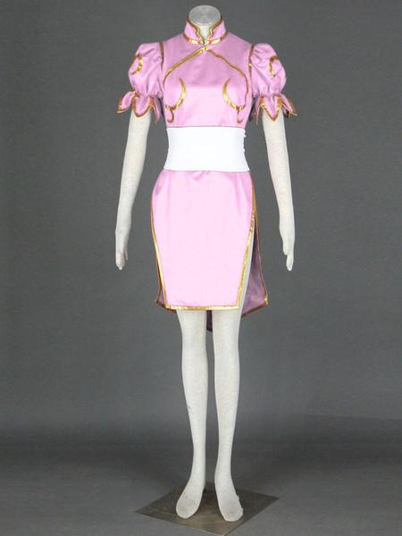 Milanoo Halloween Rosa de Chun-Li imitacion cuero Street Fighter traje de Cosplay